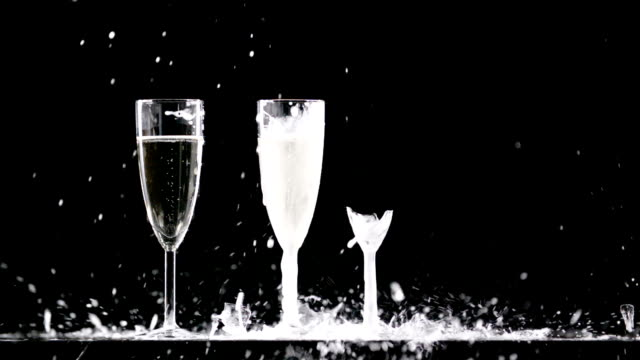 three champagne glasses - bicchiere da vino video stock e b–roll