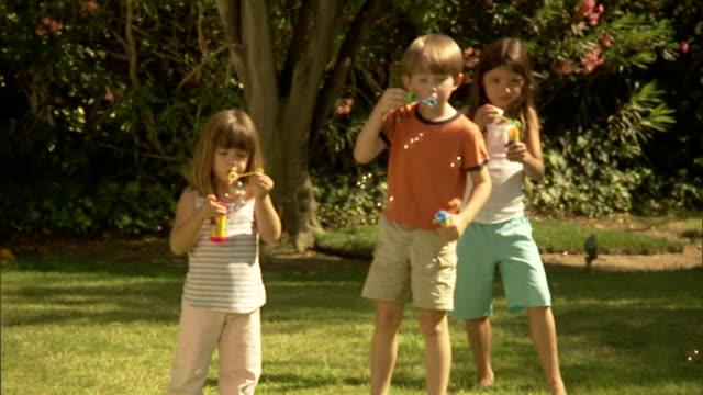 stockvideo's en b-roll-footage met ms, three children (4-5, 6-7) blowing bubbles in garden - man met een groep vrouwen