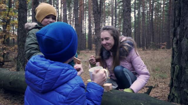 drei kinder trinken tee und essen einige kekse im wald - zwischenmahlzeit stock-videos und b-roll-filmmaterial