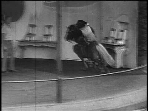 b/w 1951 three chimpanzees riding pony in ring / fourth chimp jumps on pony, fifth chimp grabs tail - 1951 stock videos & royalty-free footage