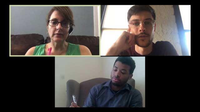 three colleagues working from home hold a video conference call. - stay at home order stock videos & royalty-free footage
