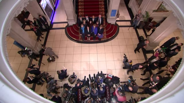 three conservative mps quit party to join independent group england london photography** low angle shots of mps at press conference by 'the... - parlamentsmitglied stock-videos und b-roll-filmmaterial