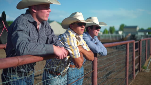 three cowboys having conversation and getting ready for riding in rodeo arena - recinzione video stock e b–roll