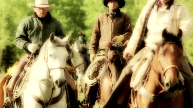 three cowboys riding horseback - cattle drive stock videos & royalty-free footage