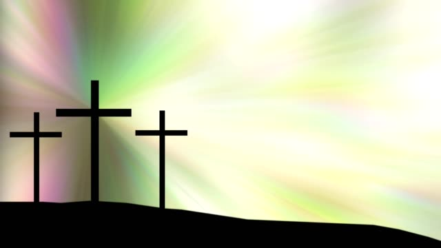 three crosses on hill with colorful sky shining in the background. - holy week stock videos & royalty-free footage