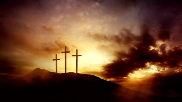 three crosses on the hill - religious equipment stock videos & royalty-free footage