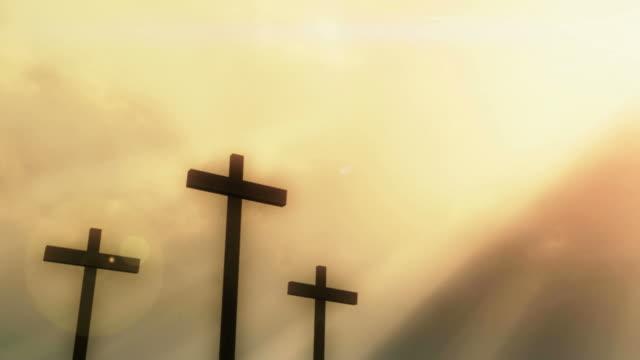 three crosses - resurrection religion stock videos & royalty-free footage