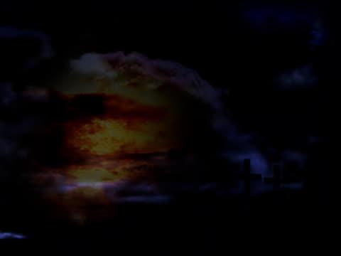 three crosses 、タイムラプス雲、太陽の神の背景 - 懺悔点の映像素材/bロール