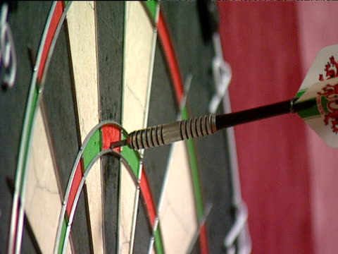 Three darts score 180 hand removes darts from dartboard 2003 Embassy World Darts Championship Lakeside Frimley Green