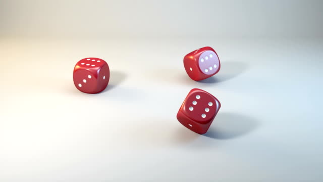 three dices fall in six - number 6 stock videos and b-roll footage