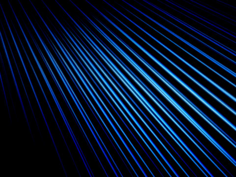 Three dimensional abstract motion graphics. Against a black background, a series of blue lines ripples slowly.