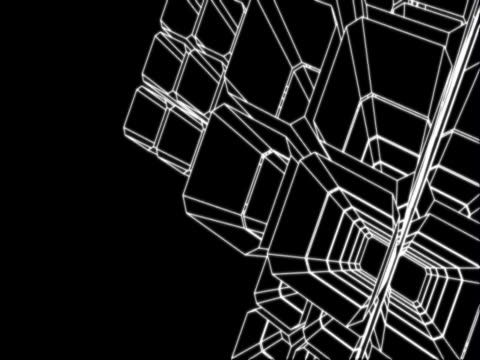 stockvideo's en b-roll-footage met three dimensional abstract motion graphics. resembling a space station, a white wire-frame depiction of a set of interlocking cubes making up four larger cubes, each of which juts out from a central cube. viewed from aeaboveae it spins slowly. - plusteken