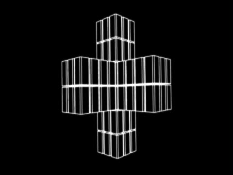 stockvideo's en b-roll-footage met three dimensional abstract motion graphics. resembling a space station, a white, wire-frame depiction of a set of interlocking cubes making up four larger cubes, each of which juts out from a central cube. it spins slowly against a black background. - plusteken