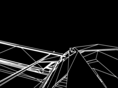 three dimensional abstract motion graphics. white, wire-frame depiction of crystalline forms, set against a black background. they rotate. - interlocked stock videos & royalty-free footage