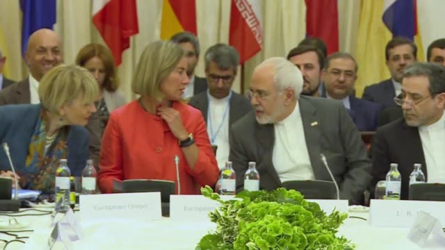 three european nations along with russia and china meet with iran to discuss the 2015 nuclear deal at the jcpoa joint commission meeting in vienna - nuclear weapon stock videos & royalty-free footage