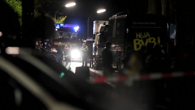 three explosions go off near the borussia dortmund bus injuring spanish international defender marc bartra as the german team headed for a champions... - borussia dortmund stock videos and b-roll footage