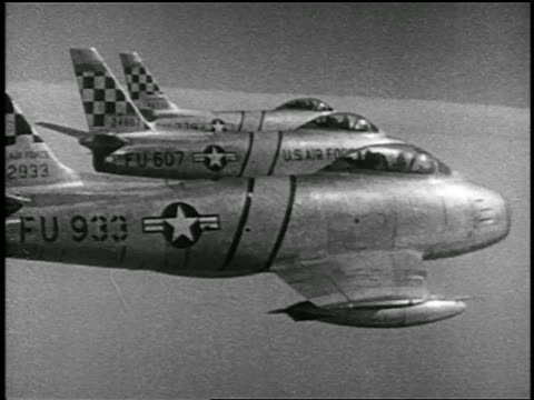 air three f86 sabres flying in formation during korean war / educational - korean war stock videos & royalty-free footage