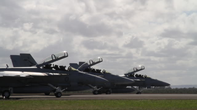 three f/a-18f super hornet fighter jets taxi on runway, australia - militant groups stock videos and b-roll footage