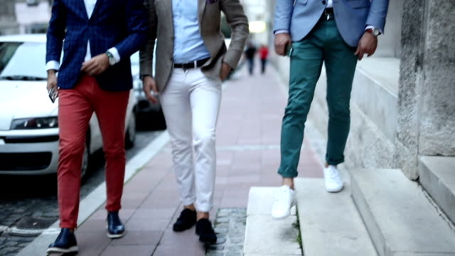 three fashion bloggers - trousers stock videos & royalty-free footage