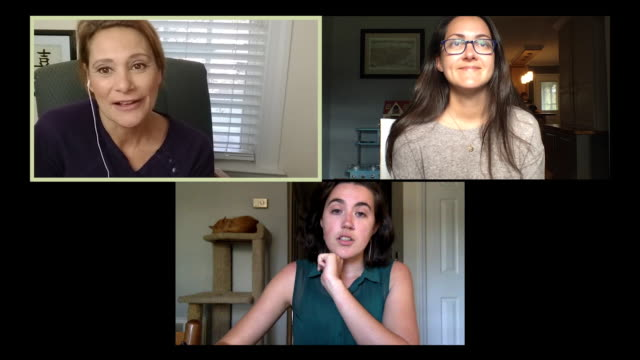 three female colleagues working from home hold a video conference call. - community stock videos & royalty-free footage