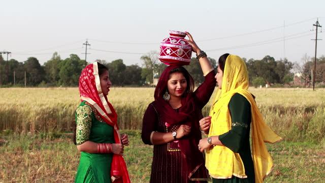stockvideo's en b-roll-footage met drie wijfjesvrienden die aan elkaar in openlucht op landbouwgebied spreken - driekwartlengte