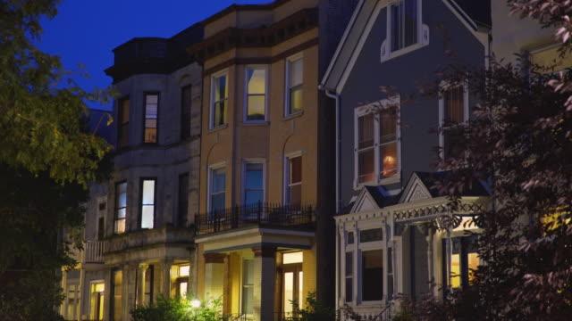 three flat apartments night exterior - flat stock videos & royalty-free footage
