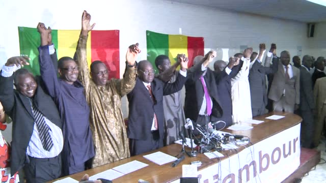vídeos de stock, filmes e b-roll de three former prime ministers and the leader of the opposition socialist party are seen as the main contenders among 13 candidates taking on president... - senegal