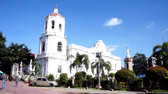 three fourth angle of santo nino church in cebu city - cathedral stock videos & royalty-free footage