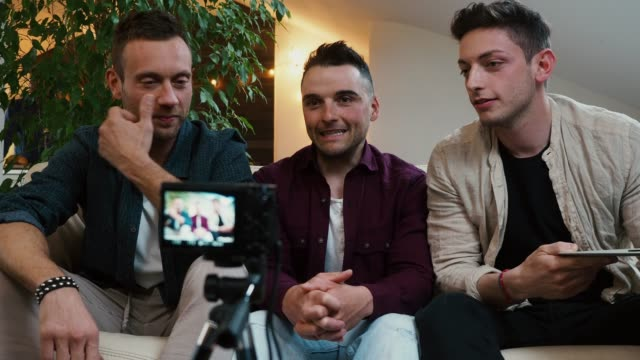 three friends doing a vlog video together - television camera stock videos and b-roll footage