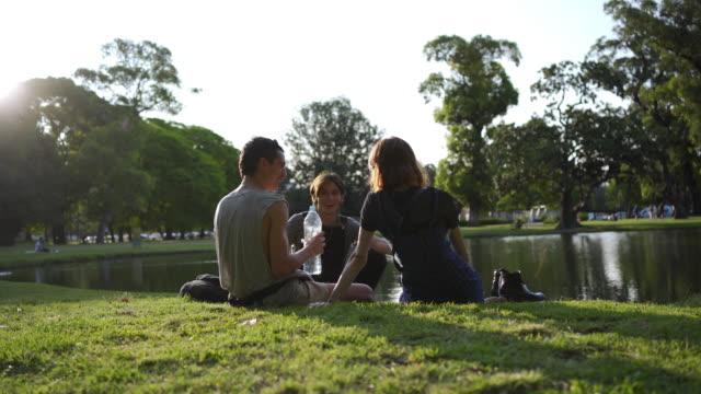 vidéos et rushes de trois amis appréciant la journée au bord du lac - picnic