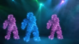 Three funny hairy colorful characters Dancing on blue Background