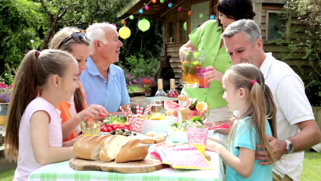 three generation family barbecue - formal garden party stock videos & royalty-free footage