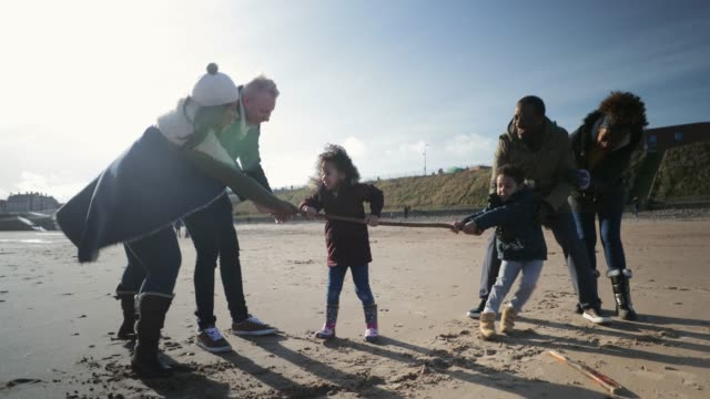 three generation family playing tug-of-war on the beach - holding hands stock videos & royalty-free footage