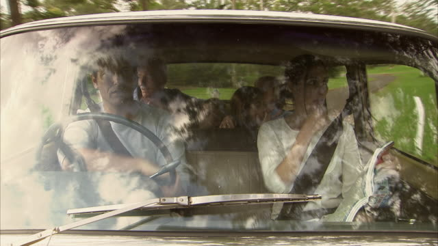 ms, three generation family with boy (6-7) and girl (10-11) traveling in car seen through windshield, tamborine mountain, brisbane, queensland, australia - perso video stock e b–roll