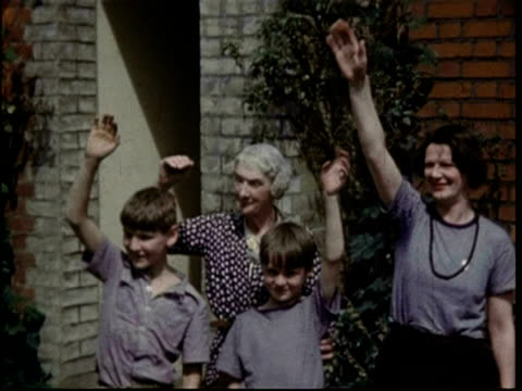 1950 three generations from family waving - waving stock videos & royalty-free footage