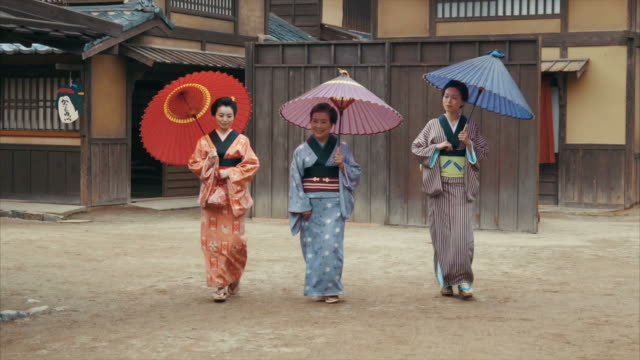 three generations of edo period women (normal speed) - sandal stock videos & royalty-free footage