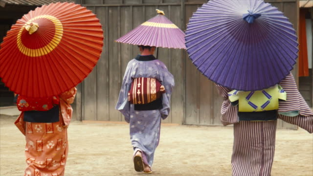 three generations of edo period women (normal speed) - parasol stock videos & royalty-free footage