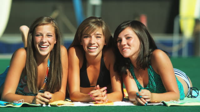 three girls at a water park