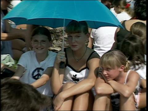 three girls sitting under blue umbrella - 1998 stock videos & royalty-free footage