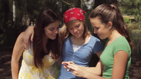 vidéos et rushes de ms three girls (14-15) taking pictures in forest / cape coral, florida, usa - trois personnes
