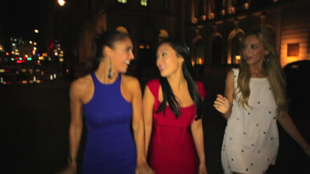 ws ts three girls walk  along pavement.mayfair - only women stock videos & royalty-free footage