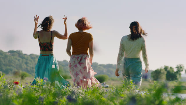 ws slo mo. three girls walk through field of flowers toward tranquil pond on sunny day. - 三個人 個影片檔及 b 捲影像
