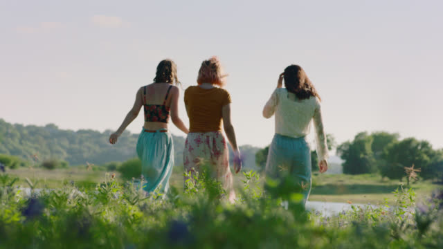 ws slo mo. three girls walk through green field toward pond on sunny day. - drei personen stock-videos und b-roll-filmmaterial