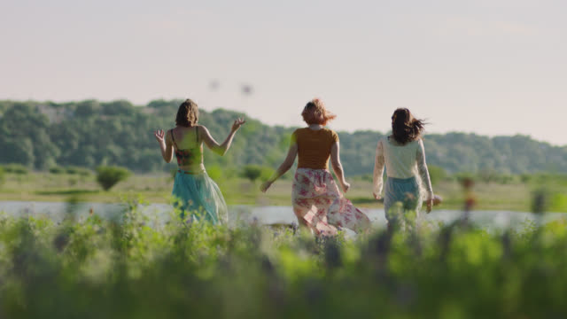 ws slo mo. three girls walk through tall green grass to secluded pond on sunny day. - 溜水点の映像素材/bロール