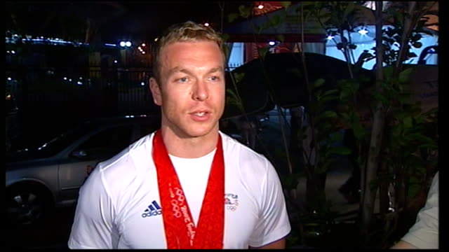 three gold medals held up to camera by hoy chris hoy interview sot flood of emotions relief disbelief exhilaration everything you work for has been... - environmental media awards stock videos & royalty-free footage