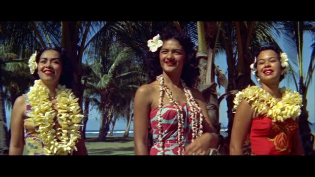 ms three hawaiian teenage girls singing for hula / honolulu, hawaii, united states - hawaiian culture stock videos & royalty-free footage