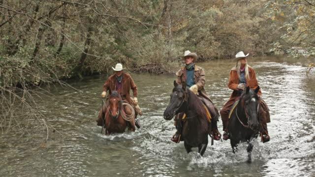 vídeos y material grabado en eventos de stock de slo mo ds tres pastores a caballo en el río - medium group of animals