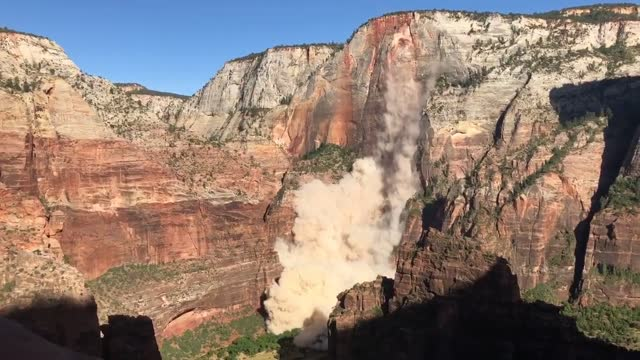 """stockvideo's en b-roll-footage met three hikers were injured on august 24 when a """"substantial"""" piece of rock broke off utah's cable mountain and fell 3,000 feet, according to a... - https"""