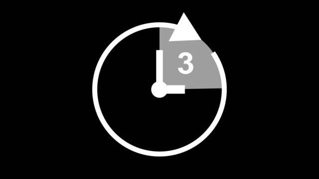 three hour, stopwatch animated icon clock with moving arrows simple animation. time counter symbol - number 3 stock videos & royalty-free footage