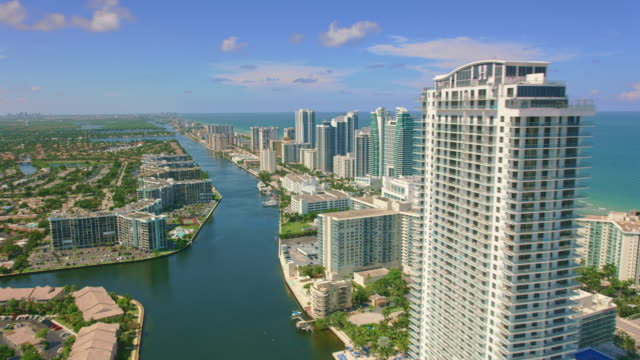 aerial three islands, hallandale beach, florida - gulf coast states stock-videos und b-roll-filmmaterial